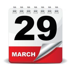 march 29 calendar page
