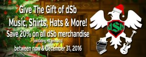 Save 20% off dSb Merch Through Dec 31, 2016