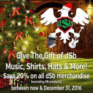 20% off dSb Merch until Dec 31, 2016